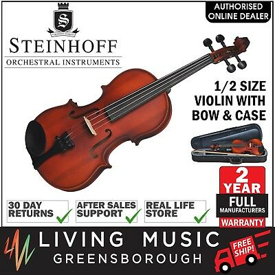 NEW Steinhoff 1/2 Size Student Violin Outfit with Bow & Case (Natural Satin)