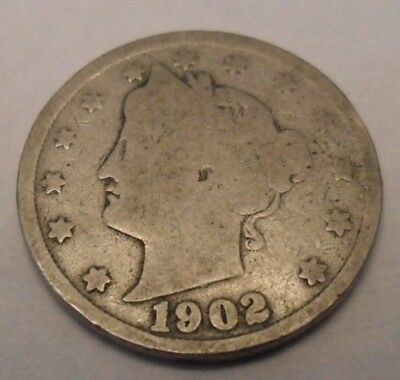 "1902 P Liberty Head ""v"" Nickel  **free Shipping**"