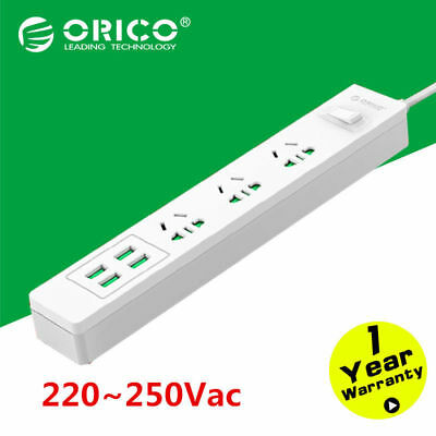 ORICO Multi 3 Outlet Power Strip Extension Socket 4 Port USB Charger Power Strip