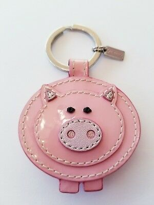 Coach Pink Patent Leather Pig Keychain FOB 92836 Rare