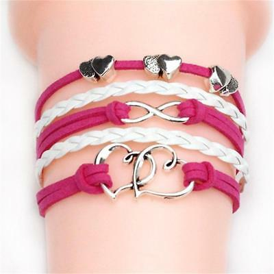 Fashion Adjustable Multilayer Leather Braided Rope Handmade Cuff Bracelet Gift