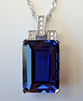 Solid 925 Sterling Silver 9.1ct Blue Sapphire Pendant Necklace Chain