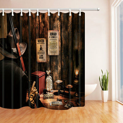 Rural Country Bar Suspect With Gun Bathroom Shower Curtain Fabric 7171inch