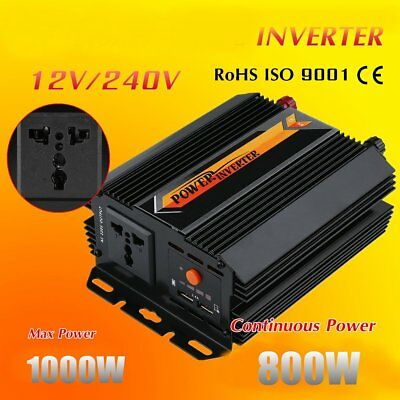 1000W Max 800W Power Inverter Power Wave DC 12V to AC 240V Power Display USB LO