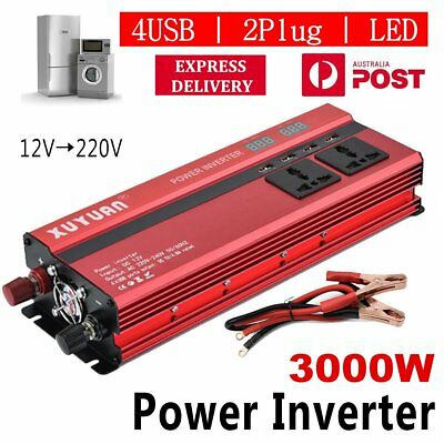 3000W Car LED Power Inverter Converter DC 12V To AC 240V 4 USB Ports Charger LO