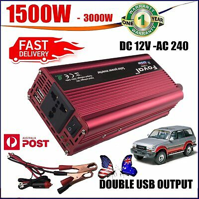 3000W MAX DC12V to AC 240V Solar Power Inverter Converter 2 USB Output Stable LO