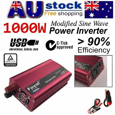 1000W(1500W Max)12V-240V Modified Sine Wave Car Power Inverter W/ USB Charger LO