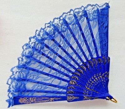 BEAUTIFUL COBALT BLUE LACE LADIES HAND FAN New
