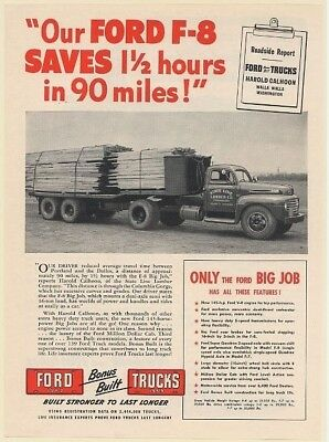 1949 Ford F-8 Big Job Truck State Line Lumber Co Freewater OR Print Ad