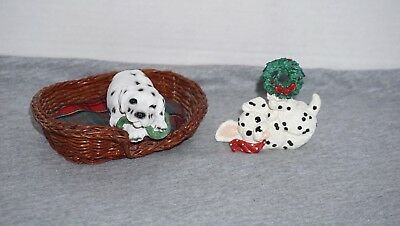 Dog Dalmatian puppies Christmas Figures with Bed