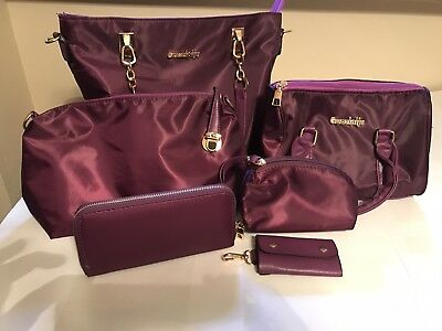 Black blue pink purple 6 piece purse set w zipper closure, plain cloth pattern