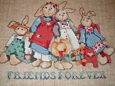 """Finished Cross Stitch Country Bunnies - Friends Forever 14"""" x 10"""""""