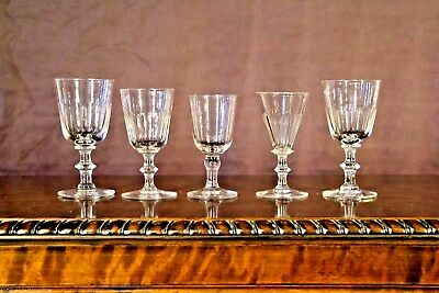 5 antique toasting shot glasses sherry cut glass Georgian 1800's crystal goblets
