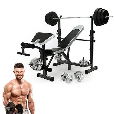 Fitness Weights Bench Multi Gym Dumbell Workout Abs/Leg Bar/Preacher Curl NR