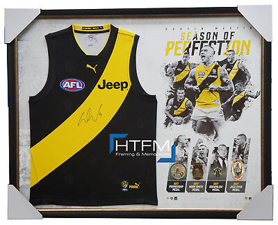 Dustin Martin Signed Richmond Jumper Season of Perfection Framed with 4 Medals