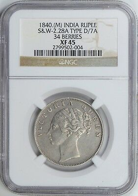 India British Queen Victoria AR Rupee 1840. Madras S&W 2.28A KM-457.12 NGC XF45