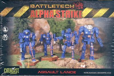 BattleTech Alpha Strike Assault Lance mit 4 Plastikfiguren /4 plastic miniatures