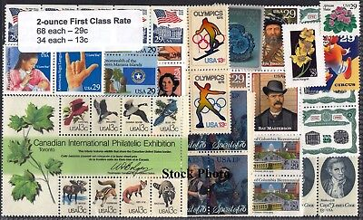 US Postage - 2 Ounce Rate Self-stick, Below Face (33 each 37c & 33c), MNH