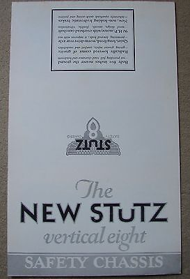 1926 STUTZ VERTICAL 8 SALES BROCHURE FOLDER~ reproduction ADVERTISING BROCHURE