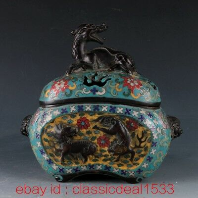 Antique Signed Chinese Cloisonne Dragon Incense Burner Censer / Qianlong Mark