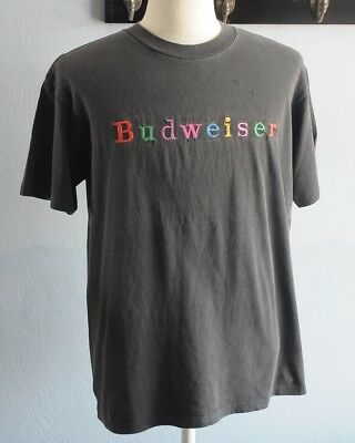 BUDWEISER VINTAGE t shirt spell out colorful faded black s/s