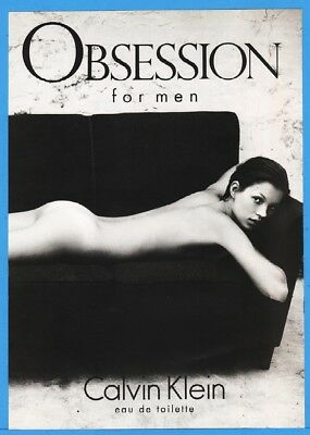 1994 Calvin Klein OBSESSION Fragrance For Men Kate Moss On Couch Photo Ad