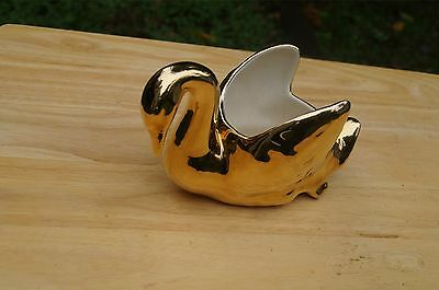 Vintage 22k Gold Plated Ceramic Swan Planter Candy Dish