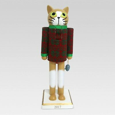 """New 2017Wooden Cat Nutcracker 12.75"""" With Festive Holiday Sweater"""