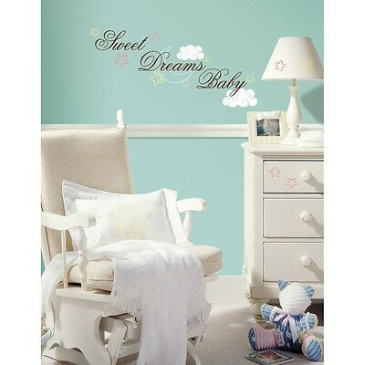 SWEET DREAMS BABY WALL STICKERS New Nursery Decals Brown Pink Blue Yellow Decor