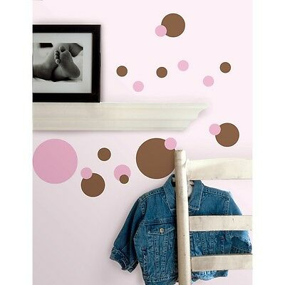 PINK BROWN POLKA DOTS WALL STICKERS 31 Just Dots Decals Baby Nursery Decor  NEW