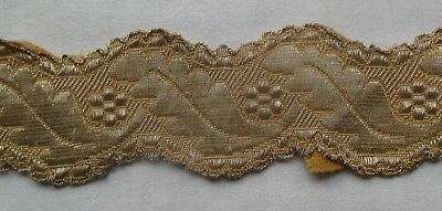 "Vintage Gold Metallic Trim Blossom Leaf Design 21""  French"