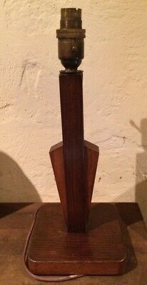 Art Deco Wooden Table Lamp Base With Brass & Porcelain Bulbholder
