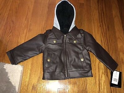 London Fog Baby Boys Faux Fur Leather Hooded Coat Jacket Sherpa Brown 18m 18 mos