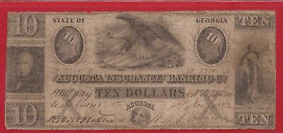 1852 $10 Obsolete Note,State of Georgia,The Augusta Ins & Banking Co,Fine,Nice!