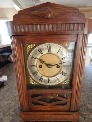 Early Antique Vintage HAC Wood Clock Brass Dial Pendulum Chime Wurttemberg + Key