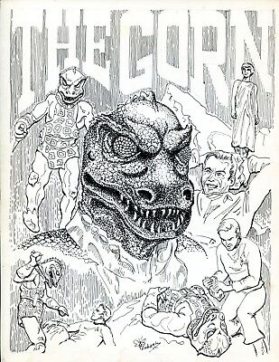 Rare Star Trek The Gorn Original Pen and Ink Published Art Signed by Bill Eubank