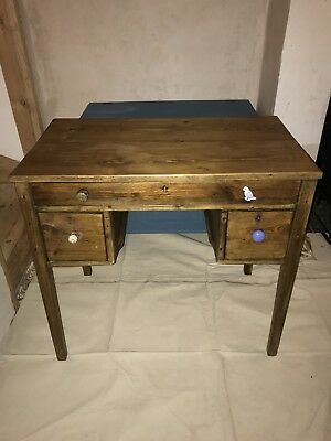 Antique Solid Wood Writing Desk - Edwardian Reclaimed Shabby Chic