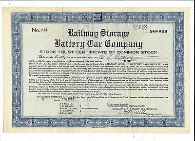 Stk-Railway Storage Battery Car Co. 1913 Blue Silver Lake, NJ See images 4-5