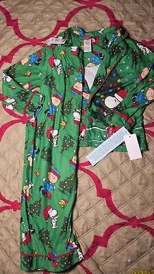 2 Piece Peanuts Snoopy Kids Pajama Set Green Size small