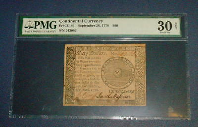 PMG September 26, 1778 CONTINENTAL CURRENCY $60 Sixty Dollar VF 30 Colonial C 86