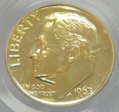 PCGS PR67 1963 Roosevelt Dime GOLDEN TONING Pretty SEE PICS Proof Silver 6671