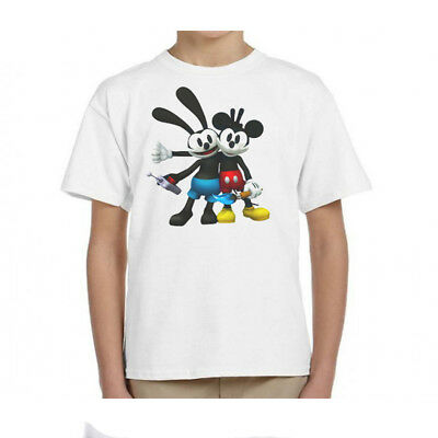 MICKEY MOUSE,& OSWALD THE LUCKY RABBIT, KID'S T-SHIRT,Youth Sizes T-259Wht,L@@K!