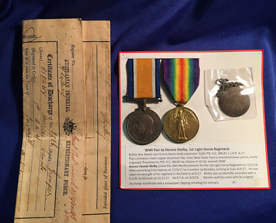 WW1 Light Horse Medal Group 3226 Tpr Horace Bielby 1st Light Horse AIF