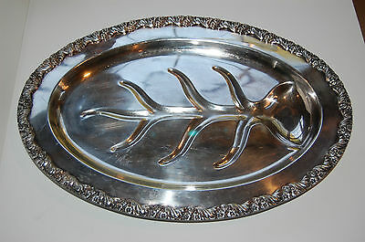 King Edward Silver plate Footed Tray Meat Tray #7015 National Silver Company NM