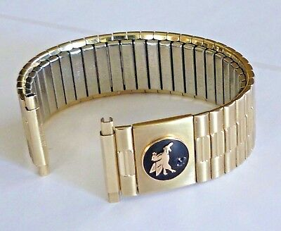 Rare! Mobil Oil Pegasus Speidel 10K Gold Plated Watch Band With Blue Sapphire!