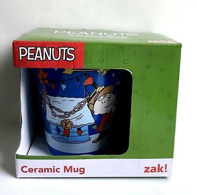 Zak! Peanuts A Charlie Brown Christmas Blue Coffee Mug 10 oz Brand New In Box!