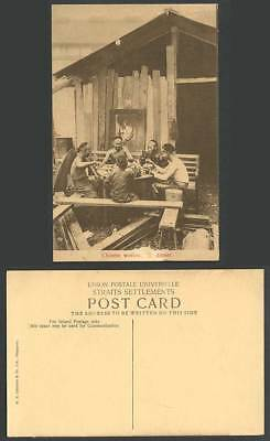 Singapore Old Postcard Chinese Workmen Workers at Dinner Table Malay Ethnic Life