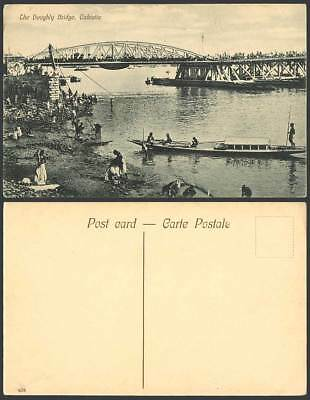 India Old Postcard The Hooghly Bridge River Scene Calcutta Boats Dhobies Bathers