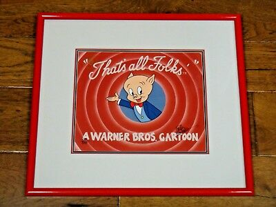 Orig Handpainted Porky Pig That's All Folks Animation Cel Signed Freleng 216/500