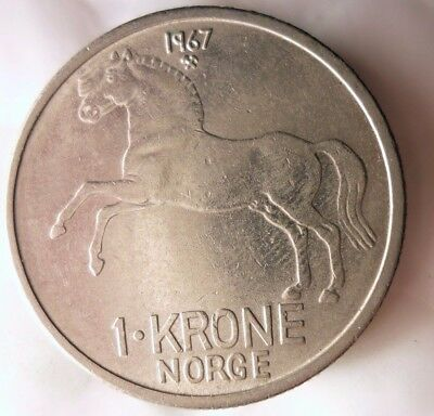 1967 NORWAY KRONE - AU - Excellent Collectible Coin - FREE SHIP - Norway Bin BB